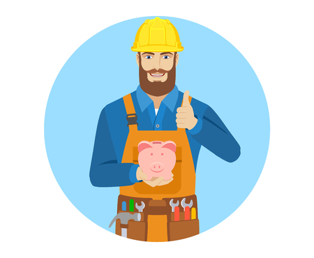 Worker with piggy bank showing thumb up. Portrait of worker character in a flat style. Vector illustration.