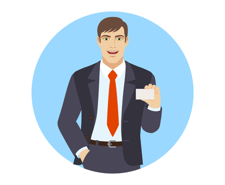 Businessman with hand in pocket showing the business card. Portrait of businessman in a flat style. Vector illustration.
