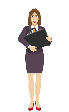 Businesswoman with two hands grabbed the briefcase. Full length portrait of businesswoman character in a flat style. Vector illustration.