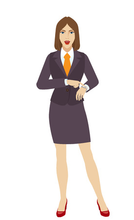 Businesswoman pointing at her watch. Full length portrait of businesswoman character in a flat style. Vector illustration.