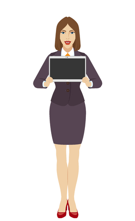 Businesswoman showing blank digital tablet PC. Full length portrait of businesswoman character in a flat style. Vector illustration. Illustration