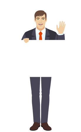 Businessman holding white blank poster and greeting someone with his hand raised up. Full length portrait of businessman character in a flat style. Vector illustration.