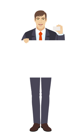 Businessman holding white blank poster and showing the business card. Full length portrait of businessman character in a flat style. Vector illustration. Illustration