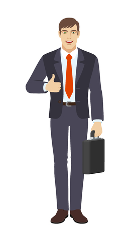 Businessman holding briefcase and showing thumb up. Full length portrait of businessman character in a flat style. Vector illustration. Illustration