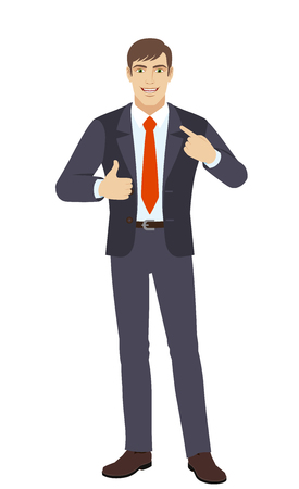 Self promotion. Businessman pointing the finger at himself and showing thumb up. Full length portrait of businessman character in a flat style. Vector illustration.