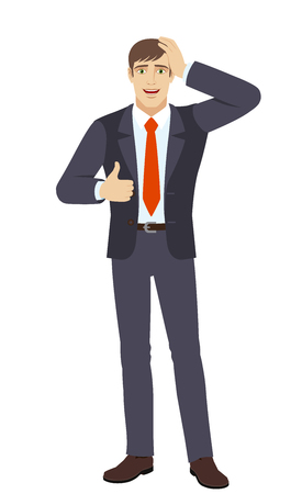 Businessman showing thumb up and grabbed his head. Full length portrait of businessman character in a flat style. Vector illustration.