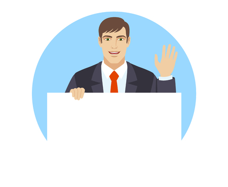 Businessman holding white blank poster and greeting someone with his hand raised up. Portrait of businessman in a flat style. Vector illustration. Illustration