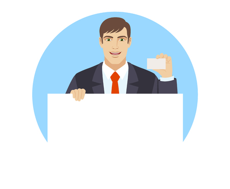 Businessman holding white blank poster and showing the business card. Portrait of businessman in a flat style. Vector illustration. Illustration