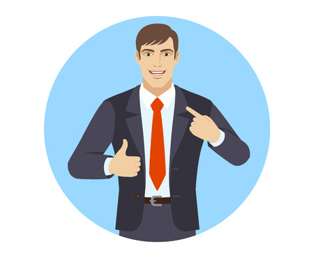 Self promotion. Businessman pointing the finger at himself and showing thumb up. Portrait of businessman in a flat style. Vector illustration.