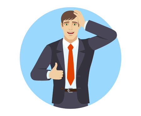 Businessman showing thumb up and grabbed his head. Portrait of businessman in a flat style. Vector illustration. Иллюстрация