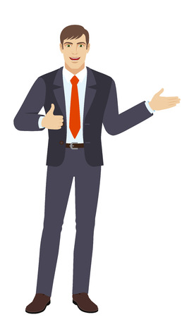 Businessman showing thumb up and showing something. Full length portrait of businessman character in a flat style. Vector illustration.