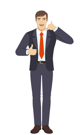 Businessman showing a call me sign and showing thumb up. Full length portrait of businessman character in a flat style. Vector illustration.