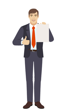Businessman showing thumb up and showing the blank paper. Full length portrait of businessman character in a flat style. Vector illustration.