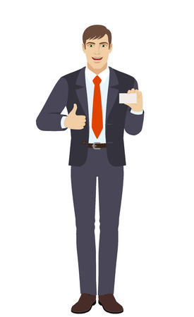 Businessman showing thumb up and showing the business card. Full length portrait of businessman character in a flat style. Vector illustration.