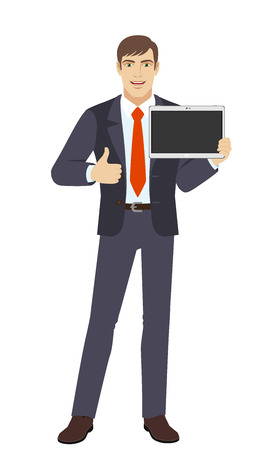 Businessman showing blank digital tablet PC and showing thumb. Full length portrait of businessman character in a flat style. Vector illustration.