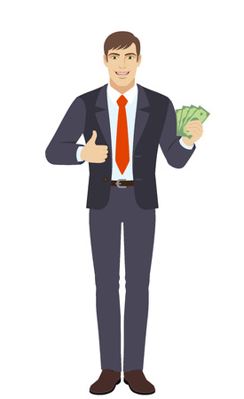 Businessman with cash money and showing thumb up. Full length portrait of businessman character in a flat style. Vector illustration.