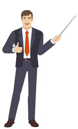 Uomo d'affari che tiene un puntatore e che mostra pollice in su. Ritratto integrale del carattere dell'uomo d'affari in uno stile piano. Illustrazione vettoriale Vettoriali