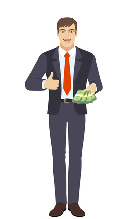 Businessman with cash mone showing thumb up. Full length portrait of businessman character in a flat style. Vector illustration.