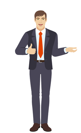 Businessman gesticulating and showing thumb up. Full length portrait of businessman character in a flat style. Vector illustration.