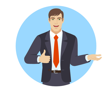 Businessman gesticulating and showing thumb up. Portrait of businessman in a flat style. Vector illustration.