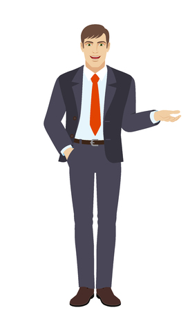 Businessman with hand in pocket gesticulating. Full length portrait of businessman character in a flat style. Vector illustration. Illustration