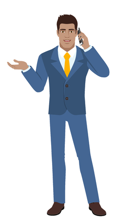 Businessman gesturing. Businessman talking on the mobile phone. Full length portrait of businessman in a flat style. Vector illustration.