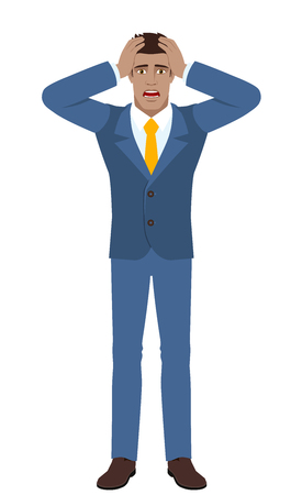 Businessman with surprise expression on face. Full length portrait of businessman character in a flat style. Vector illustration.
