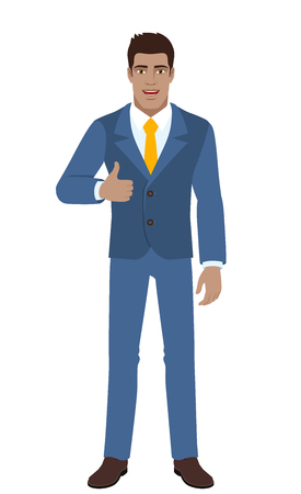 Businessman showing thumb up. Full length portrait of businessman character in a flat style. Vector illustration.