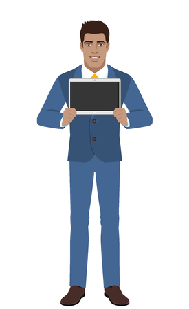 guy standing: Businessman showing blank digital tablet PC. Full length portrait of Black Businessman in a flat style. Vector illustration.