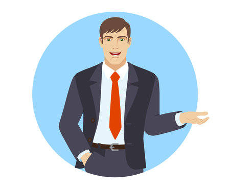 Businessman with hand in pocket gesticulating. Portrait of businessman in a flat style. Vector illustration. Иллюстрация