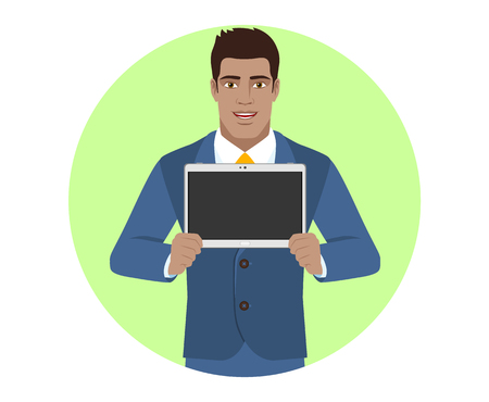 guy standing: Businessman showing blank digital tablet PC. Portrait of Black Business Man in a flat style. Vector illustration.