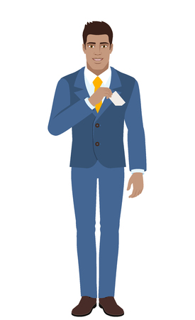 Businessman puts the business-card in his pocket. Full length portrait of black business man in a flat style. Vector illustration.