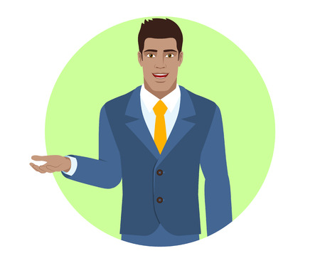 Businessman shows something beside of him. Portrait of Black Business Man in a flat style. Vector illustration. Illustration