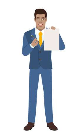 Man giving pen for your signature on paper. Illustration