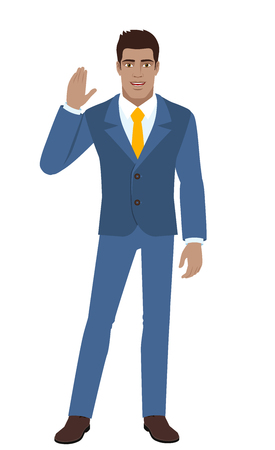 Businessman greeting someone with his hand raised up. Full length portrait of Black Business Man in a flat style. Vector illustration.