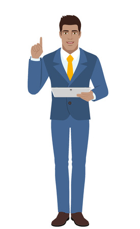 Businessman holding digital tablet PC and pointing up. Full length portrait of Black Business Man in a flat style. Vector illustration. Illustration