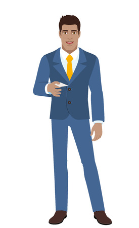 Businessman gives a business card. Full length portrait of Black Business Man in a flat style. Vector illustration.