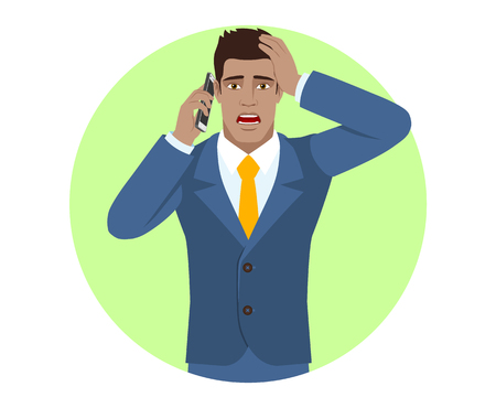 Shocked businessman talking on the mobile phone and grabbed his head. Portrait of Black Business Man in a flat style. Vector illustration.