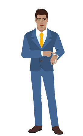 Businessman pointing at his watch. Full length portrait of Black Business Man in a flat style. Vector illustration. Illustration