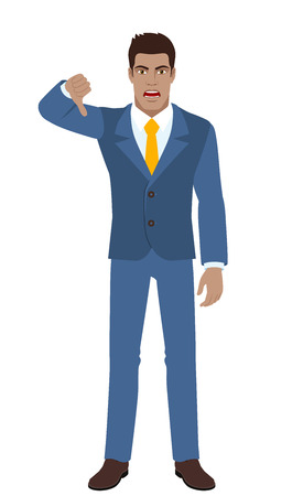 rejection: Businessman showing thumb down gesture as rejection symbol. Full length portrait of Black Business Man in a flat style. Vector illustration.