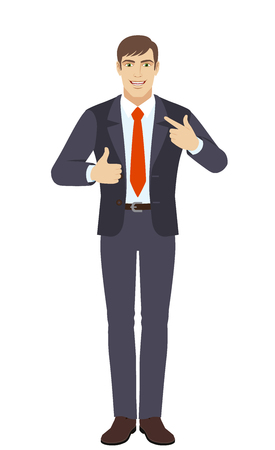 Businessman showing thumb up and  pointing the finger at himself. Full length portrait of businessman character in a flat style. Vector illustration.