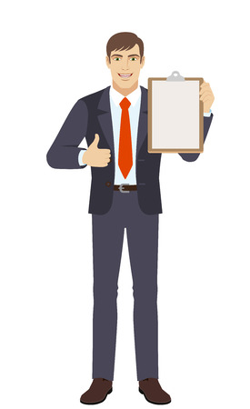 Businessman showing thumb up and holding clipboard. Full length portrait of businessman character in a flat style. Vector illustration.
