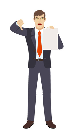 Businessman showing the blank paper and showing thumb down. Gesture as rejection symbol down. Full length portrait of businessman character in a flat style. Vector illustration. Illustration