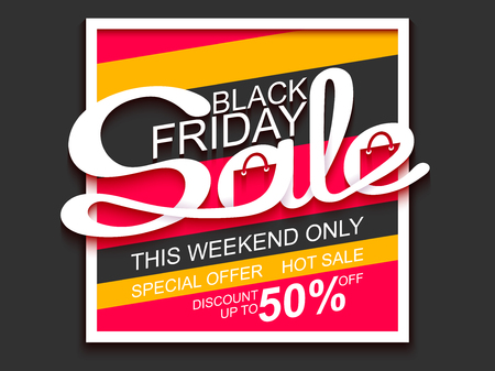 Black Friday Sale. Sale banner with calligraphic inscription. Vector illustration made in paper cut out style.