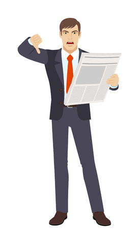 rejection: Businessman with newspape showing thumb down. Gesture as rejection symbol down. Full length portrait of businessman character in a flat style. Vector illustration.