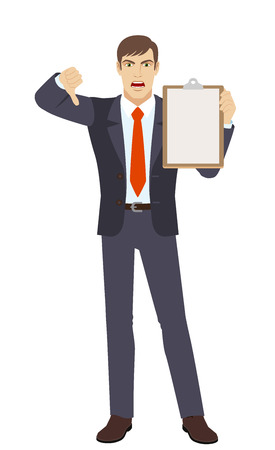Businessman holding clipboard and showing thumb down. Gesture as rejection symbol down. Full length portrait of businessman character in a flat style. Vector illustration.