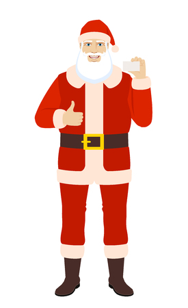 Santa Claus showing thumb up and showing the business card. Full length portrait of Santa Claus in a flat style. Vector illustration. Illustration