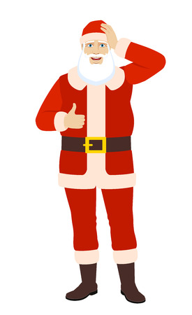 Santa Claus showing thumb up and grabbed his head. Full length portrait of Santa Claus in a flat style. Vector illustration.
