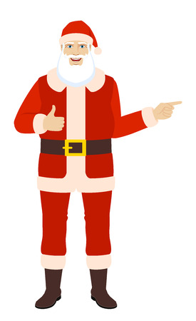 Santa Claus showing thumb up and pointing somewhere. Full length portrait of Santa Claus in a flat style. Vector illustration.