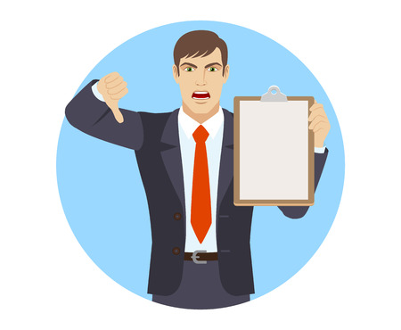 rejection: Businessman holding clipboard and showing thumb down. Portrait of businessman in a flat style. Vector illustration.